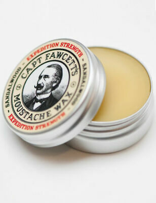 Captain Fawcett Expedition Strength Moustache Wax Sandalwood Firm Hold 15ml Tin • 11.89£