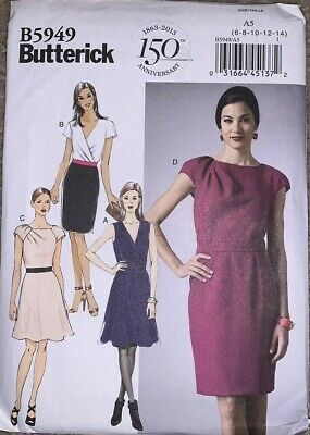 3881531204 Butterick Sewing Pattern 5949 Misses 6-14 Flared Or Straight Mock Wrap Dress  • 2.50