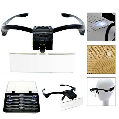 Led Head Magnifying Glasses Headset With Light Hands Free Headband Magnifier Lam • 8.99£