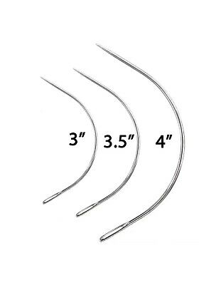 3 X Curved Needles 3  3.5  4  Curved Needle Repair Kit Upholstery Sewing UK • 3.99£