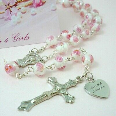 Personalised Rosary Beads, Engraved Gift For First Communion, Goddaughter Etc • 18.99£