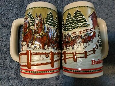 $ CDN38.86 • Buy What Is Better Than A 1984 Budweiser Stein?  2 Holiday Clydesdale Steins!  LOOK!