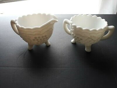 $14.99 • Buy Vintage Milk Glass Imperial Grape Footed Sugar And Creamer