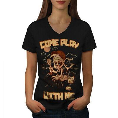 Wellcoda Come Play With Me Womens V-Neck T-shirt, Mummy Graphic Design Tee • 14.99£