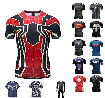 b25805bb Superhero Superman Marvel Panther 3D Compression T-shirt Fitness Cycling  GYM TOP • 8.99$