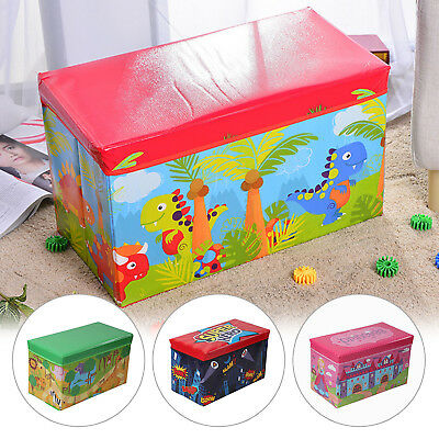 Kids Boys Girls Large Folding Storage Toy Box Books Chest Clothes Seat Stool • 8.99£