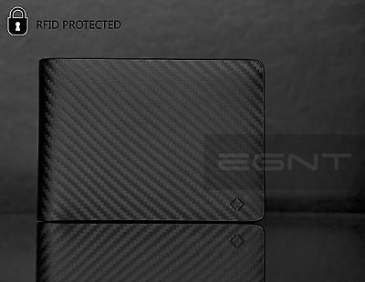 AU34.99 • Buy EGNT ID + Coin Carbon Wallet RFID BLACK GENUINE LEATHER LUXURY SLIM MENS BIFOLD