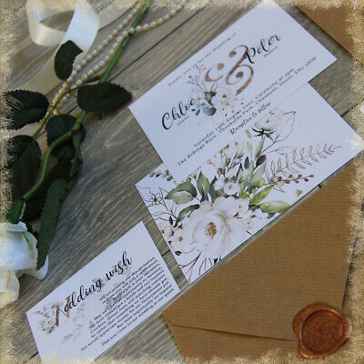 £3.75 • Buy Personalised Wedding Invitations,IVORY & GOLD/GREEN,RUSTIC WITH ENV,packs Of 10
