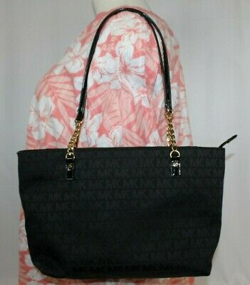 abb5f614d797 MICHAEL KORS JET SET Signature Jacquard Black Large Chain Tote Bag Purse  EUC • 59.95$
