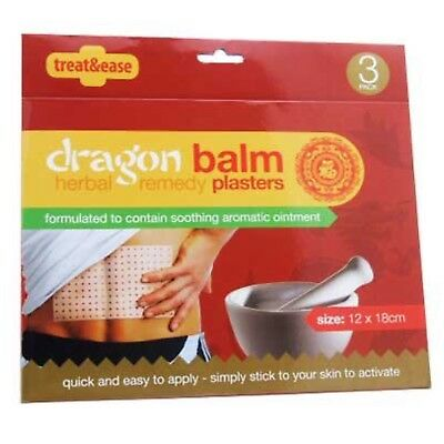 3 X Pain Relief Dragon Balm Herbal Back Body Plaster Patches Muscles Deep Heat   • 2.99£