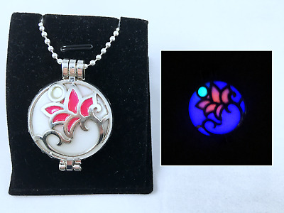 $ CDN19.67 • Buy LOTUS Flower GLOW In The DARK Shiny Silver Photo Locket Pendant Charm Necklace