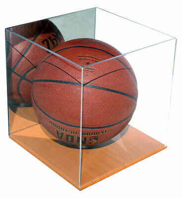 Acrylic Full Size Basketball Display Case Stand With Wood Floor And Mirror • 44.95$