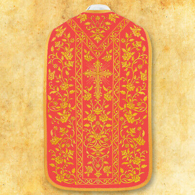 """£830 • Buy Roman Embroidered Chasuble """"z Różami"""" Red"""