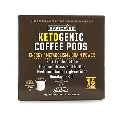 $18.99 • Buy Rapid Fire Ketogenic Hi Performance Keto Coffee Pod 16 K-Cups BURN FAT 3 FLAVORS