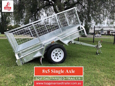 AU2470 • Buy 8x5 SINGLE AXLE TRAILER GALVANISED BOX TIPPERWITH 600mm CAGE 750kg ATM NEW TYRE
