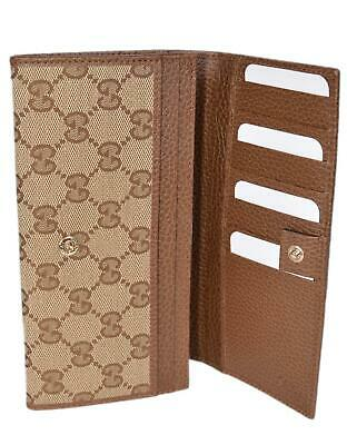 c388ae8ba3be New Gucci Women's 346058 Beige Brown Canvas Leather Continental Bifold  Wallet • 427.50$