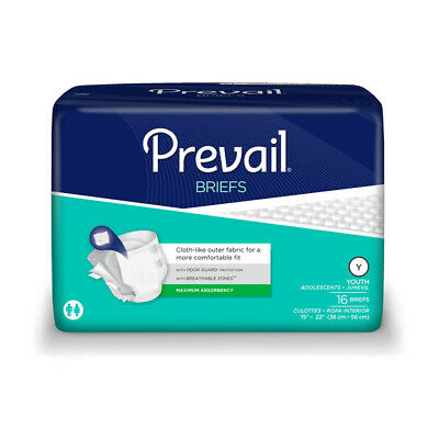 £9.99 • Buy 1x Prevail Youth Incontinence Briefs - Pack Of 16 - 1260ml