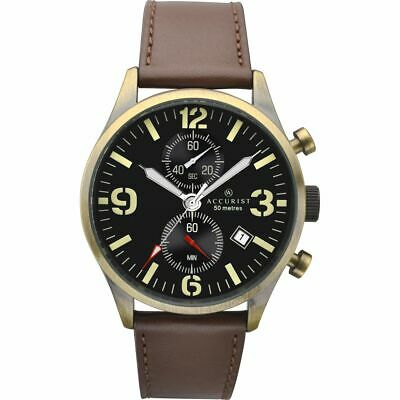£41.50 • Buy ACCURIST Gents 7023 Gold Tone Stainless Steel Case Strap Chrono Watch RRP £119