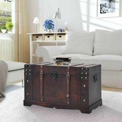 £123.39 • Buy Vintage Wooden Treasure Chest Storage Trunk Box Living Room Coffee Table Antique