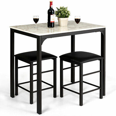 3 Piece Counter Height Dining Set Faux Marble Table And 2 Chairs Kitchen Bar New • 87.99$