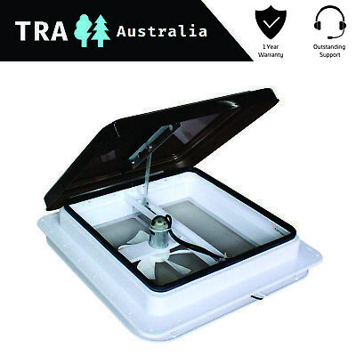 AU91.08 • Buy 12V Caravan RV Roof Vent Manual Shower Hatch With Fan 355mm X 355mm Smoked Lid