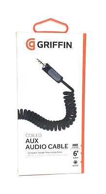 £3.50 • Buy Griffin Coiled 3.5mm Audio Cable Aux In Headphone Car Jack Plug 6ft 1.8m