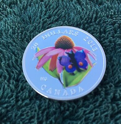 2013 Canada $20 Purple Cornflower And Butterfly 1oz Silver Coin • 139.95$