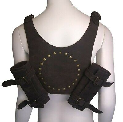 LARP Leather Back Scabbard Sword Weapon Loop Frog Black Brown REDUCED • 29.99£