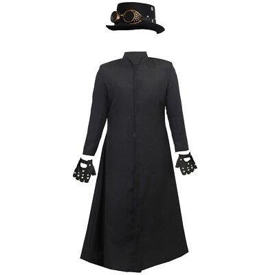 Mens Steampunk Costume Black Duster Coat Hat Gloves Victorian Fancy Dress Outfit • 29.99£