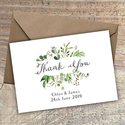£5.25 • Buy Personalised Rustic Thank You Cards/Postcard,Wedding,Green Floral Packs Of 10
