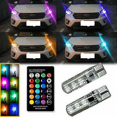 $12.99 • Buy Multi-Color RGB LED Bulbs W/RF Remote Control For Car Parking Lights 168 194 T10