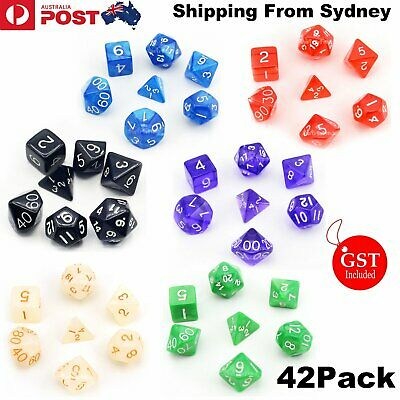 AU19.99 • Buy 42 PCS/Set Dungeons & Dragons MTG Polyhedral Game Dice Six-Color DND RPG Dice