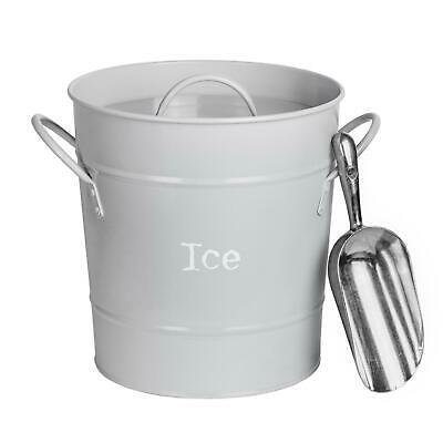 Ice Bucket Wine Champagne Beer Party Cooler With Lid Stainless Steel Scoop Grey • 14.99£