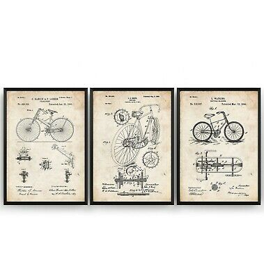 £17.28 • Buy Bicycle Set Of 3 Patent Prints - Poster Cycling Wall Art Bike Gift - Unframed