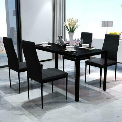 AU242 • Buy Modern 5 Piece Dining Dinner Breakfast Glass Top Table And Seat Chairs Set Black