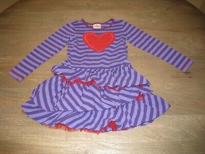 4caf363fb09e2 VGUC Hanna Andersson Layered Tulle & Purple Stripes Dress W/ Red Heart. 120,