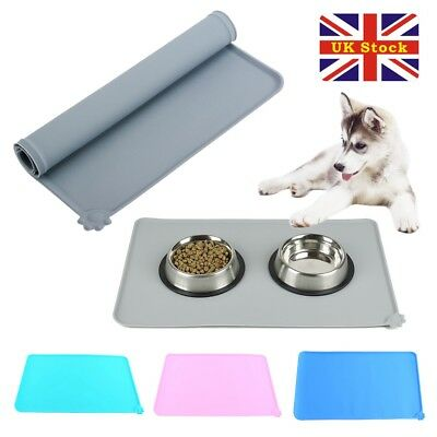 Silicone Puppy Dog Placemat Pet Cat Dish Bowl Feeding Food Water Mat Clean UK • 6.99£
