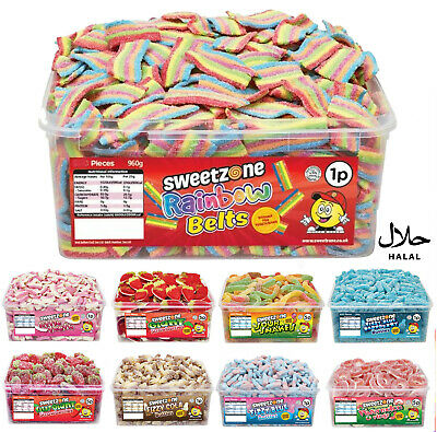 Halal Sweets Sweetzone Fizzy Rainbow Belts Jelly Fizzy Candy Chewy Tubs 600pcs • 8.49£