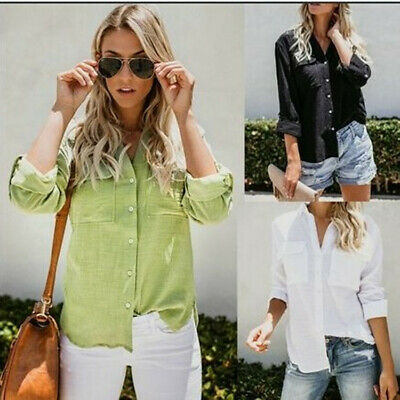 AU15.88 • Buy Women Loose V Neck Button Down Shirt Bamboo Cotton Pockets Long Sleeve Tops
