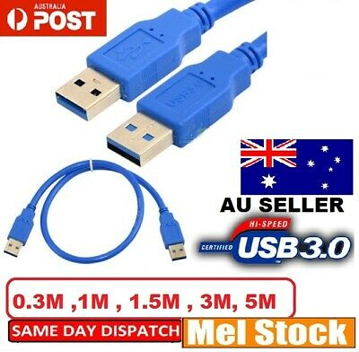 AU6.99 • Buy Double USB 3.0 A TYPE Male Plug To TYPE A Male Plug Flat Cable Extension Cord