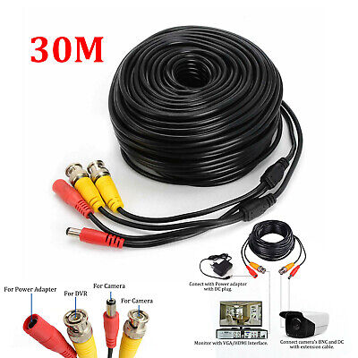 30M BNC DC Power Lead CCTV Security Camera DVR Video Record Extension Cable • 6.59£