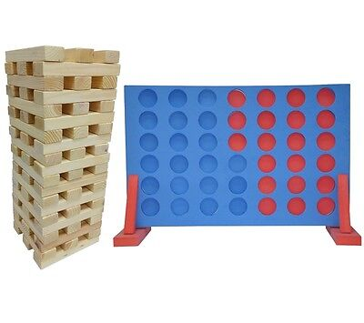 2:1 Set Giant Jenga Tower + Connect Four 4 In A Row Family Garden Party Games • 31.90£