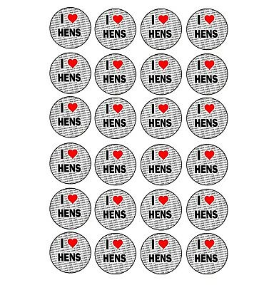 I Love Hens 24 Stickers - Craft Reward Party Bag Stocking Fillers • 2.99£