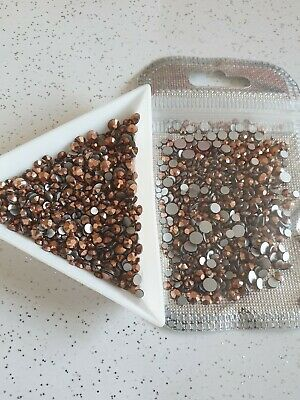 Nail Art Rose Gold Flatback Gems Bling Rhinestone Crystals Mixed Size  • 4.99£