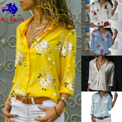 AU16.73 • Buy Women Loose Floral V Neck Shirt Ladies Button Rolled Long Sleeve Casual OL Tops
