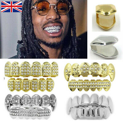 Hot Silver Golden Hip Teeth GRILLZ Top Bottom ICED OUT Tooth Caps Grill Bling • 4.99£