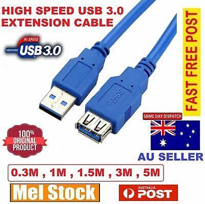 AU7.99 • Buy High Speed USB 3.0 Super Speed Extension Cable Cord Lead Male To Female M/F Cord