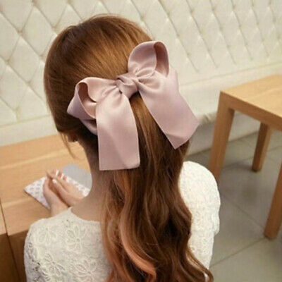 Vintage Girls Women Hairpin Hair Clamp Ribbon Large Bow Clip Spring Barrette 1PC • 0.99$