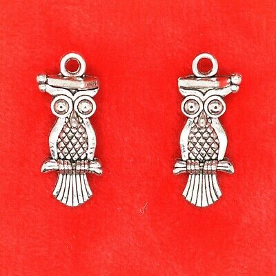 8 X Tibetan Silver Wise Graduate Owl With Mortar Board Double Side Charm  • 1.99£