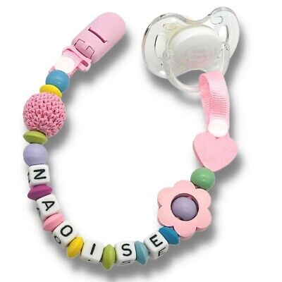 Dummy Clip Personalized Wooden Bead Pacifier Holder Soother Chain Baby Girl~ 1pc • 7.90£